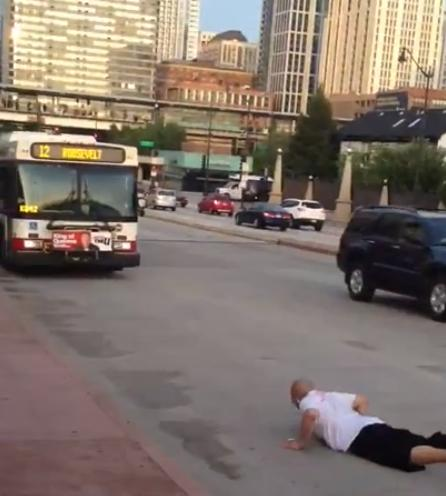 Man jumps in front of CTA bus Chicago South Loop