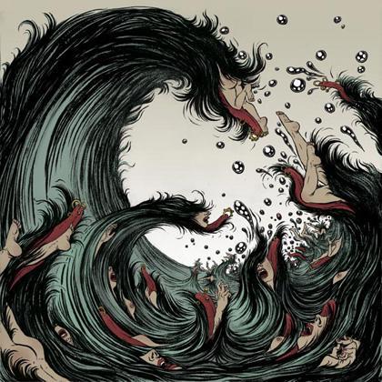 Tidal wave tsunami art